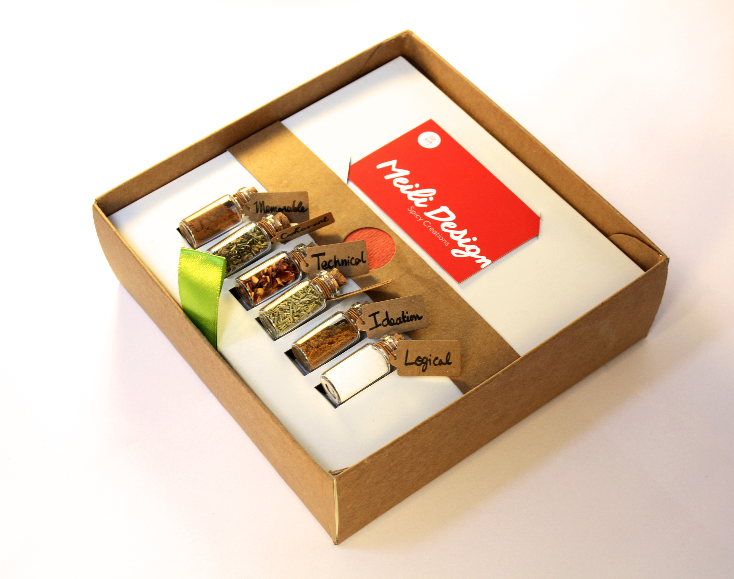 the 6 spices vials and business card